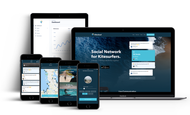 Screenshot von Kitecloud (Konzeption und Entwicklung eines App-Komplettpakets bestehend aus App für iOS und Android, API-Backend, Verwaltungsoberfläche und Webseite)