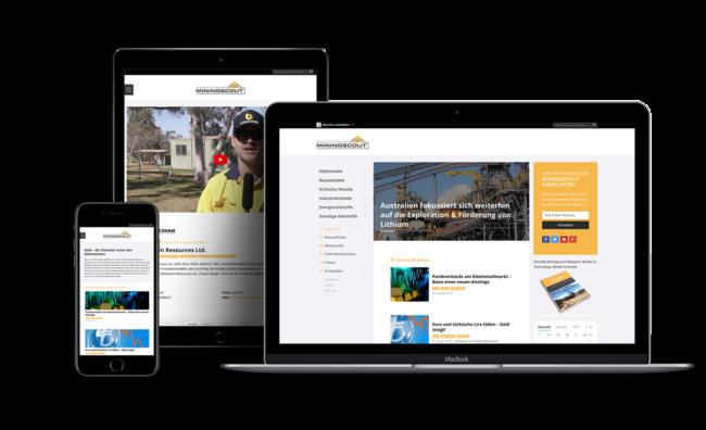 Screenshot von Miningscout (Relaunch eines Online-Magazins für Rohstoff-Anleger inklusive Branchenbuch.)