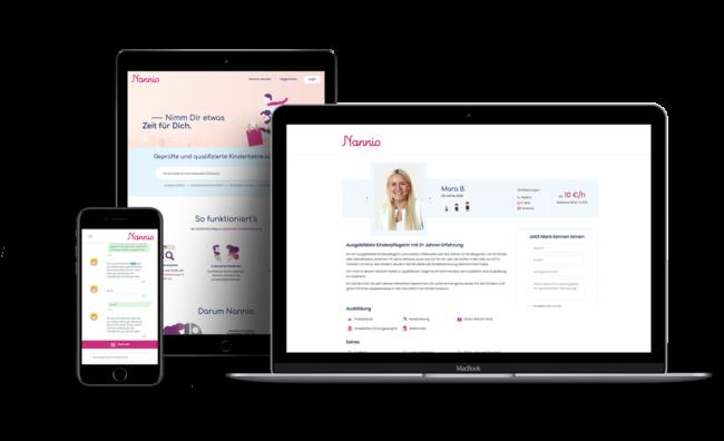 Screenshot von Nannio (Entwicklung einer Web-Plattform zur Suche und Buchung von Babysittern inklusive Instant-Chat und Verfügbarskeitscheck)
