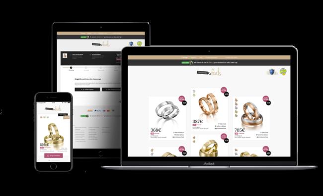 Screenshot von Trauringdeals (Individuelle Shop-Lösung mit Verwaltungsoberfläche und Trauring-Konfigurator plus Shopping-App)