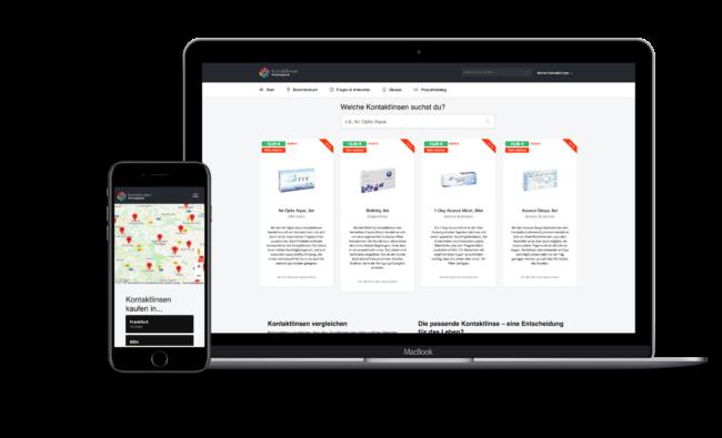 Screenshot von Kontaktlinsen-Preisvergleich (Affiliate-Portal mit Anbindung an diverse Affiliate-Schnittstellen zum automatischen Aktualisieren der Produkte und Preise)